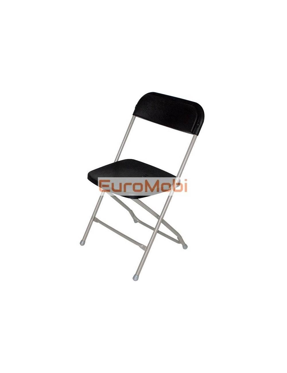 Folding chair Cluny light gray - black