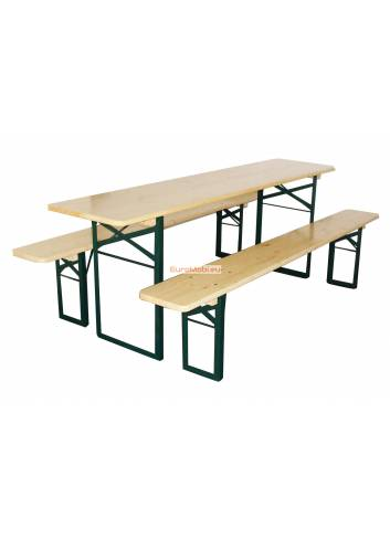 Set of Strasbourg : table 220 x 60cm and 2 beer benches