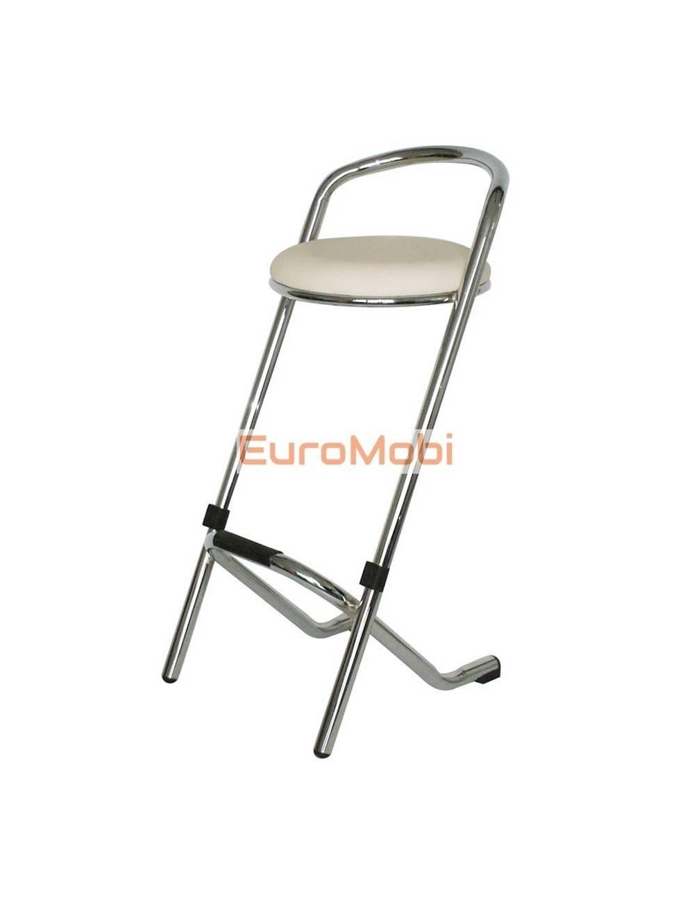 Bar stool Tabsu chrome - white