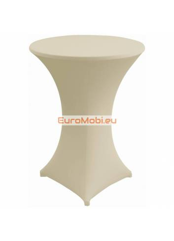 Cover and top stretch for standing table round ligth grey brown
